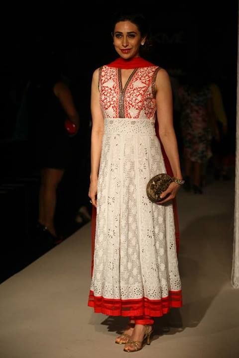 Karishma Kapoor in white n red Manish Malhotra anarkali