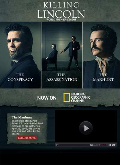 """National Geographic Channel launched a second screen experience for the new documentary """"Killing Lincoln"""""""