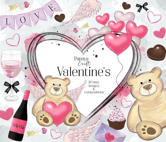 Valentines Day Clipart Set Watercolor Clipart Teddy Bear Cute Valentines Clipart Valentines Sti Valentines Day Clipart Valentine Stickers Valentine Clipart