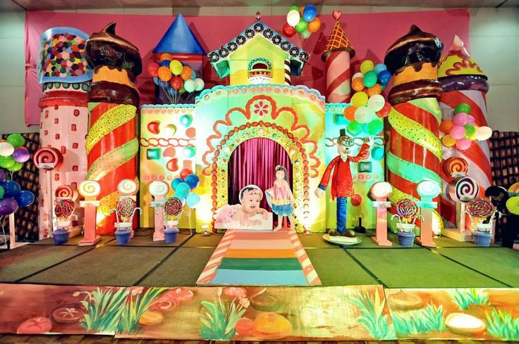 Love the Candy Castle Backdrop the kids' standees were