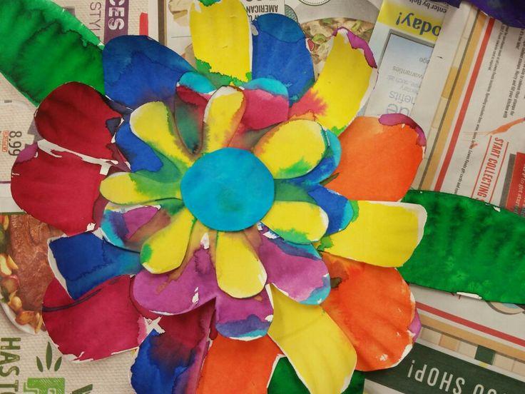 Liquid watercolor 5 layer paper plate flower.