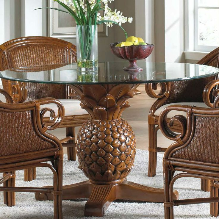 """Havana Dining Table: Havana Palm Pineapple Table With 48"""" Round Glass"""