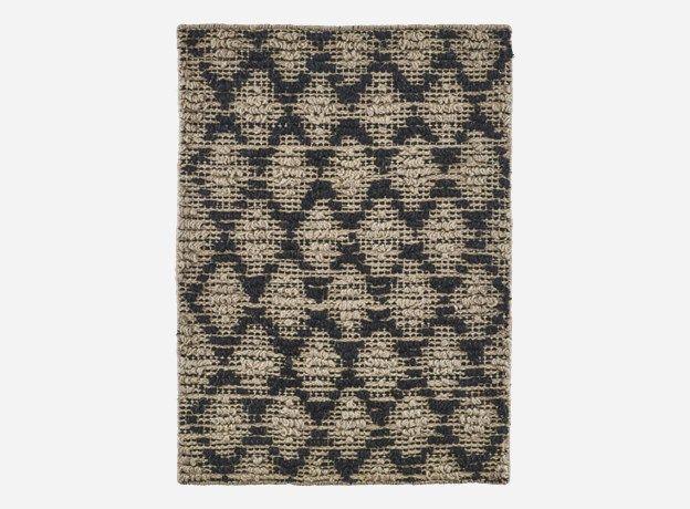 Rm0077 - Tæppe, Harlequin, sort/natural, jute, m. skridsikker bagside