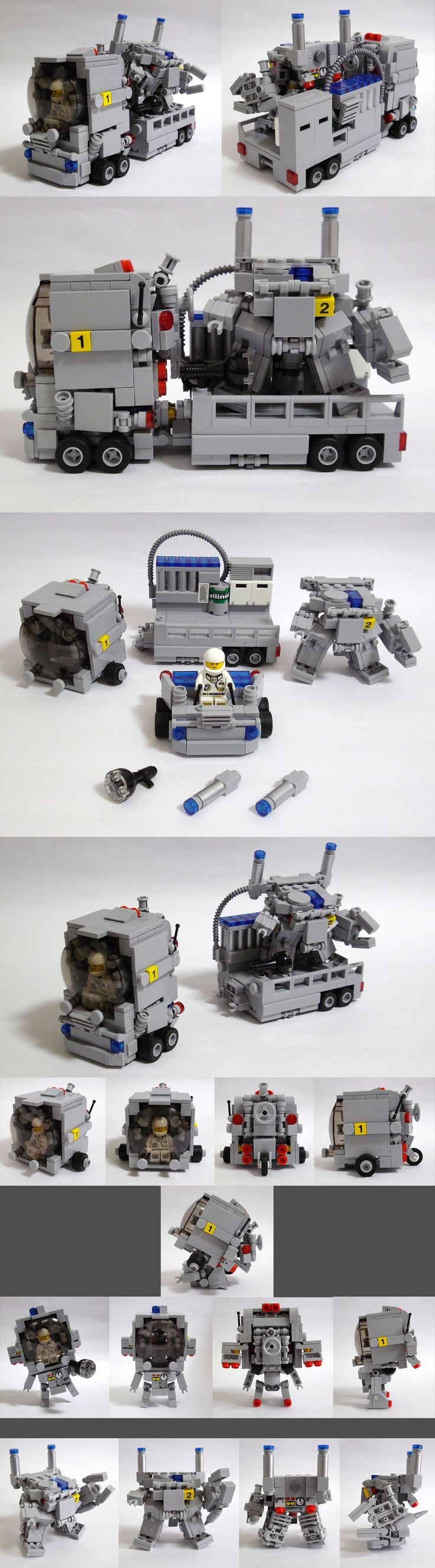 LEGO trailer truck transport with mech robot. Different sections that transform into multiple units.