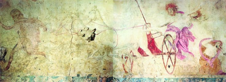Macedonian Tombs - Wall painting depicting the Rape of Persephone.- Vergina, Macedonia northern Greece