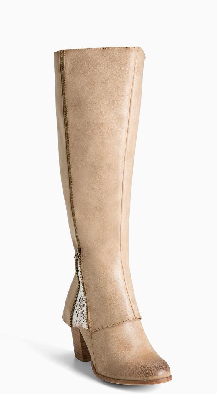 Plus Size Wide Calf Crochet Inset Heel Boots