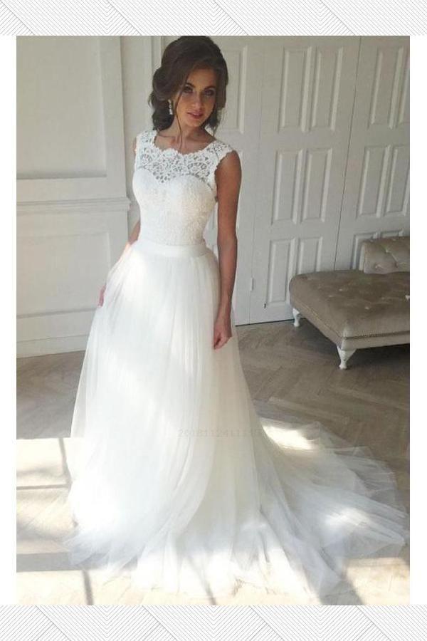 Sale Easy Cheap Wedding Dress Ivory Wedding Dress Wedding Dress Lace Wedding Dress Che Cheap Bridal Dresses Sweep Train Wedding Dress Lace Top Wedding Dress