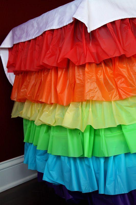 Rainbow Ruffled Plastic Tablecloth Tutorial – alaynascreations