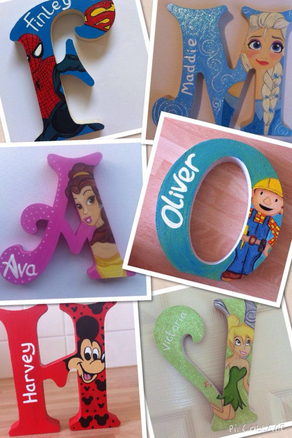 Personalised, hand painted wooden letters. Children/kids bedroom decor. on Etsy…