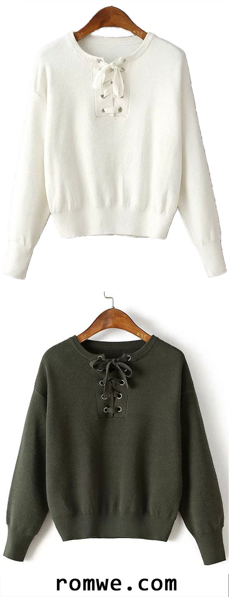 Black Friday Sale - Army Green Eyelet Lace Up Drop Shoulder Sweater