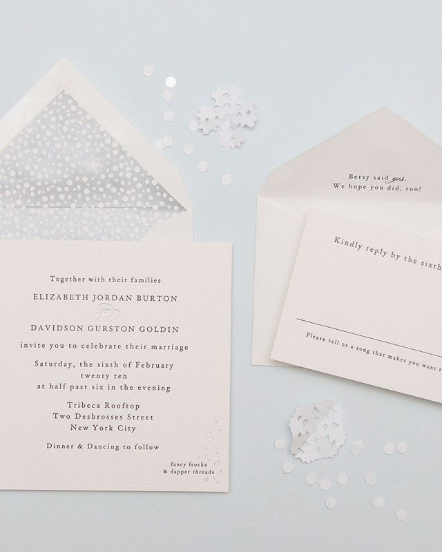 wedding invitation wording vegetarian option%0A Touches of silver foil provided this understated Cheree Berry Paper design  with a glam element