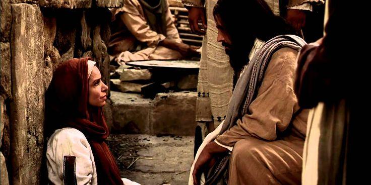 """Jesus heilt eine gläubige Frau  Matthäus 17:20 - """"Wenn ihr Glauben habt wie ein Senfkorn, wird euch nichts unmöglich sein."""""""