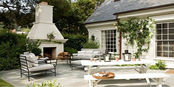 Fabulous Modern White Outdoor Fireplace Design