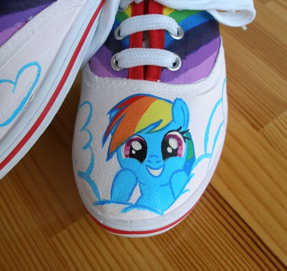 Hand painted Children My Little Pony shoes Rainbow by BeressyArt