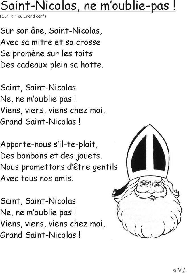 chanson Saint Nicolas sur l'air du grand cerf: