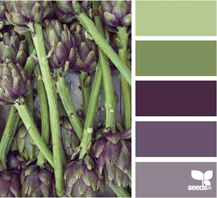Antique violets in 3 shades and soft sage green in 2 make a beautiful palette