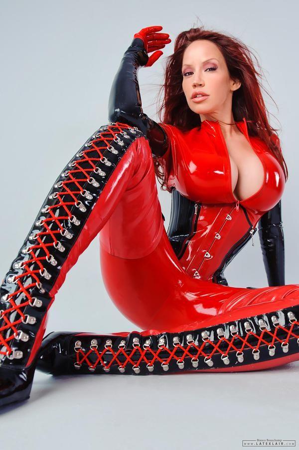 Bianca Beauchamp looking so hot in latex catsuit, corset ...