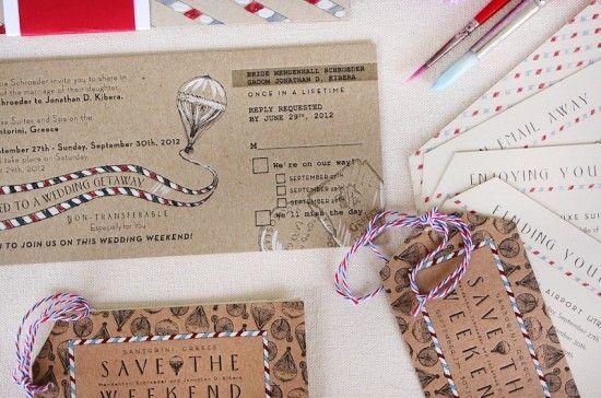 Menden + Jonathan's Travel-Inspired Destination Wedding Invitations | Design + Photo: Momental Designs