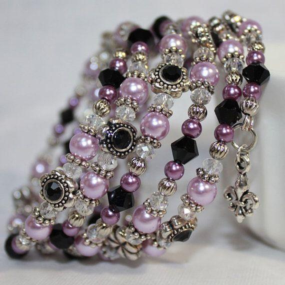 Memory Wire Beaded Bracelet Wrist Wrap Glass Beads and Glass Pearls Purple and Black Womens Jewelry