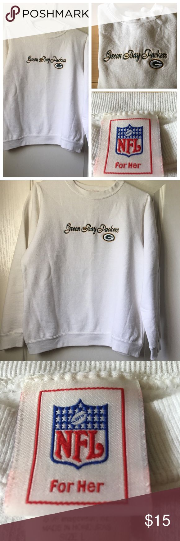 NFL Green Bay Packers Sweatshirt Packers White Sweatshirt                                   EUC                                                                  Size: Large NFL Other