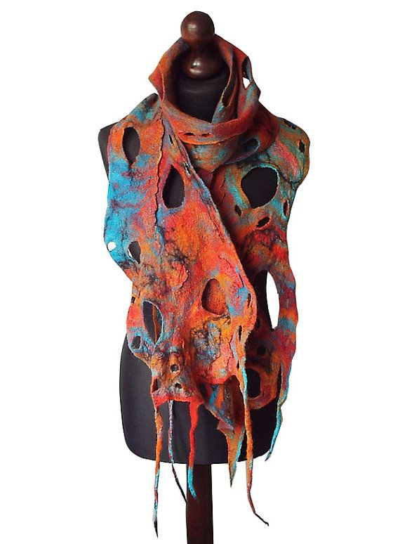 Felted Scarf Felt Scarf Felted Collar Handmade Art To Wear Multicolor Rainbow felt Colorful Boho Christmas Gift Wearable Art OOAK  Felted scarf made from finest Australian merino wool and hand dyed cotton gauze. Colors: multicolor - shades of orange, shedes of red, shades of turquoise,