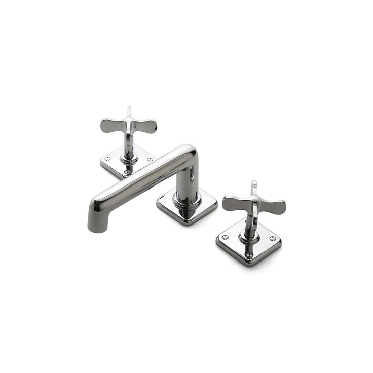 Ludlow Low Profile Three Hole Deck Mounted Lavatory Faucet With Metal Cross Handles Fittings