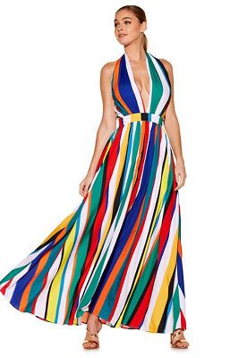 413bad807525 Colorful variegated vertical stripes create an eye-catching maxi dress with  a sexy halter tie neckline and a banded empire waist on a beautiful  voluminous ...