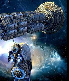 Two spaceships near a nebula. #spaceships #starships