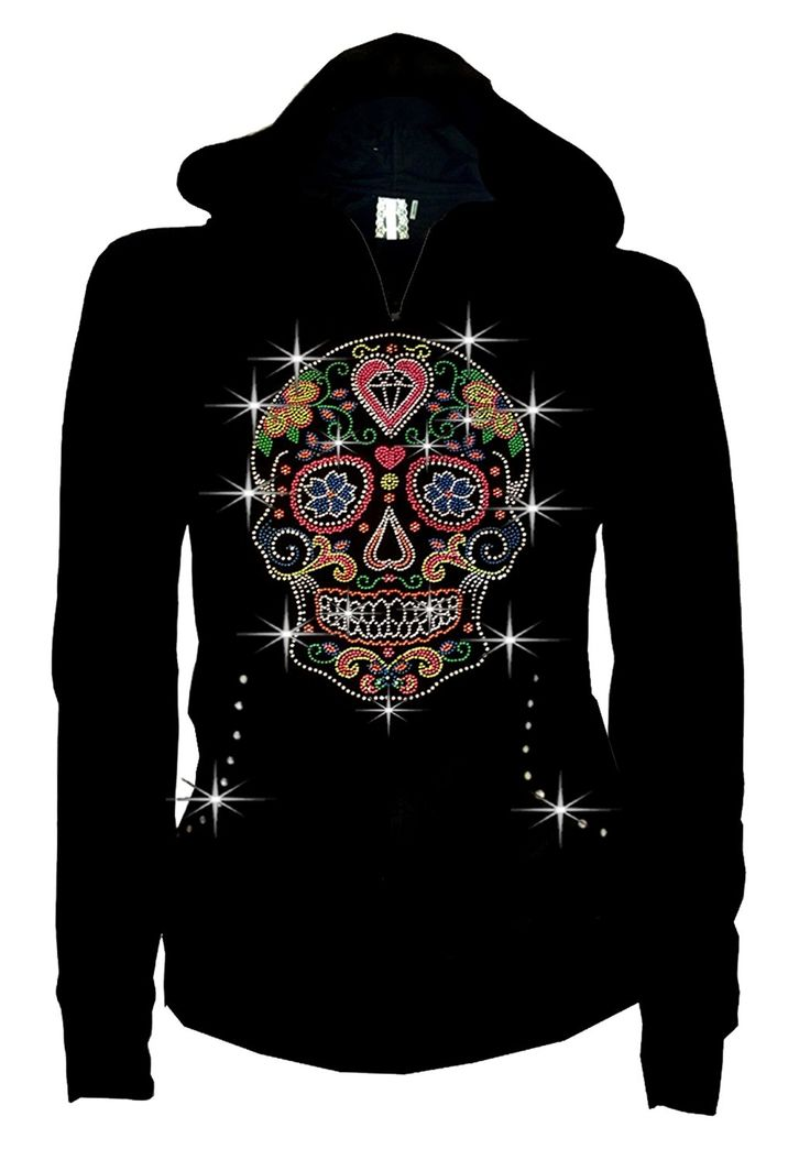 Bling Bling Sugar Skull LADY Size Zip up Hoodie Sweater Rhinestones,w Heart - My Sugar Skulls