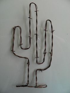 """Rusty Barbed Wire Cactus Art~ 11"""" Tall ~  Cowboy Rustic South Western Wall Decor"""