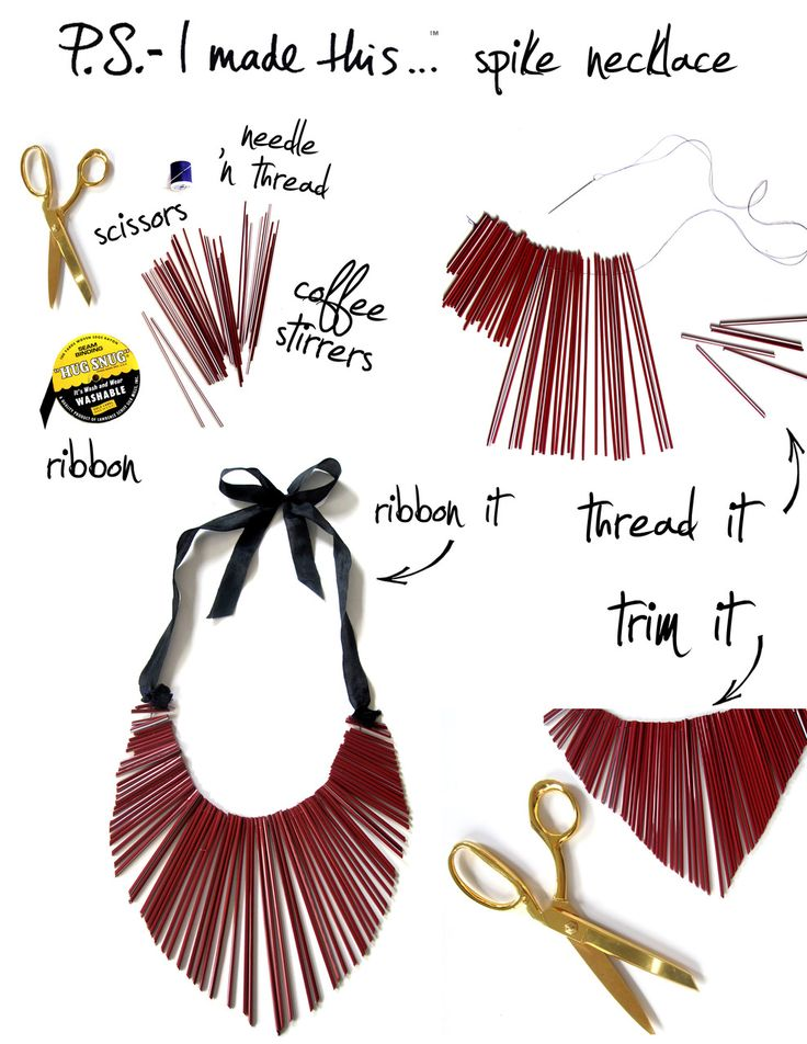 quite clever really, and again...easy peasy: Spike Necklace, Diy'S, Coffee Stirrers, Diy Necklace, Diy Accessories, Diy Jewelry, Necklaces, Craft Ideas