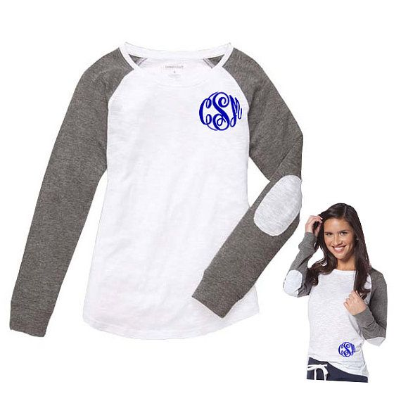 Monogram Long Sleeve T Shirt With Elbow Patch