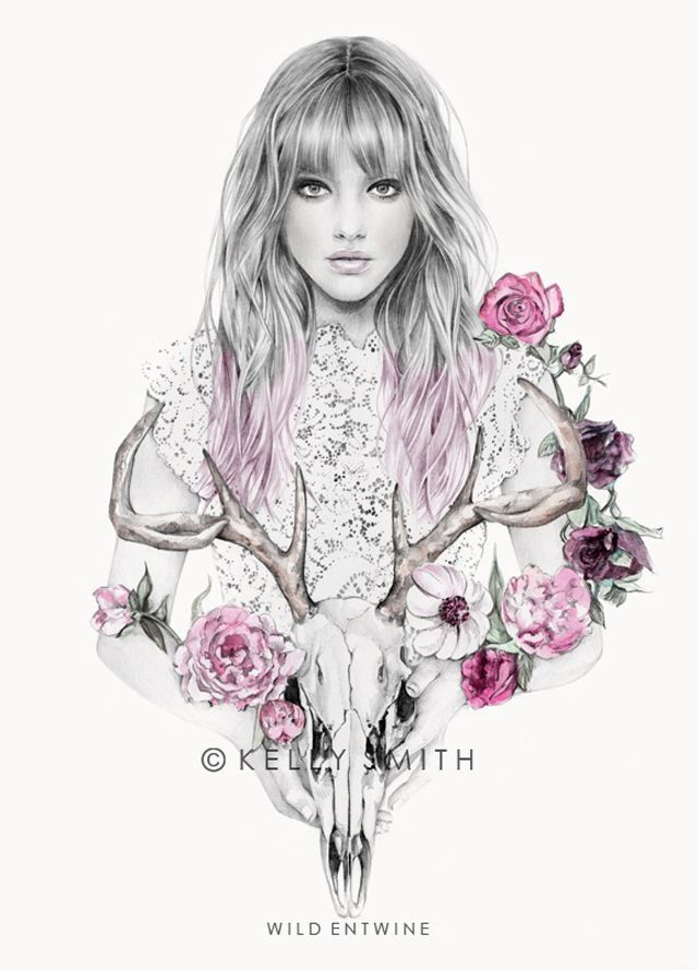 This is a beautiful piece. It is so elegant. I like how the color scheme is consistent. The girl looks very realistic. The skull, flowers, and the girl all fit together. I like how the overall colors are black and white and there is a pop of pink in the flowers and the hair. I could see this piece being hanged on a wall. It has nice flow.