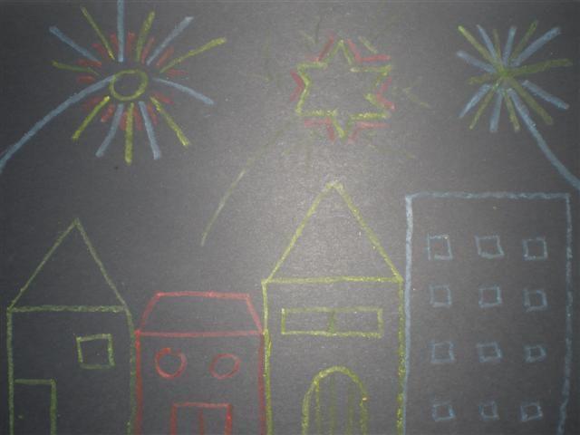 vuurwerk laten tekenen met wasco op zwart papier
