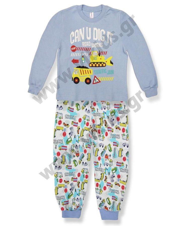 Πυτζάμες για αγόρια, σε μεγέθη 0-5, από την DREAMS. Από βαμβακερό ιντερλόκ.