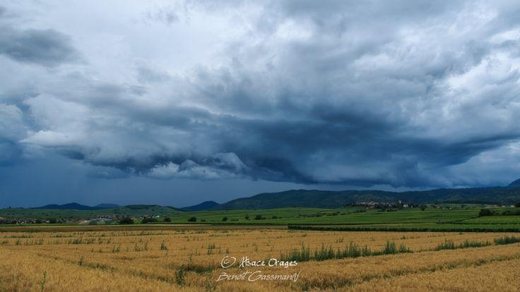 Reportage photo : orage peu électrique mais offrant de belles structures nuageuses en Alsace le 28 juin, par Benoit Gassmann - KERAUNOS Observatoire Français des Tornades et Orages Violents