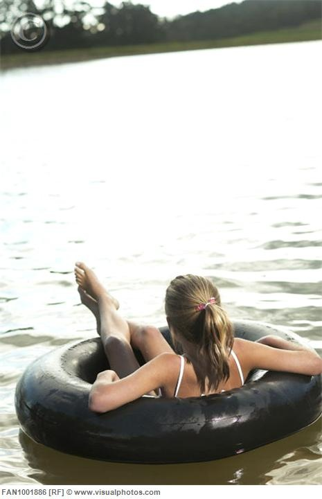 Swimming with a inner tube