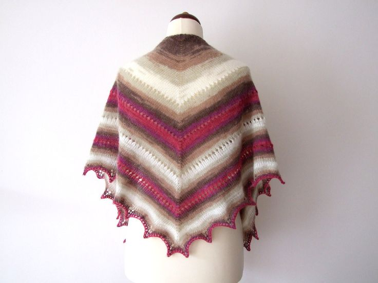 Triangle shawl, perfect for late winter/early spring. http://etsy.me/2trazUN #accessories #shawl #pink #birthday #brown #trianglescarf #handknitscarf #triangleshawl #knittedshawl #etsy #springfashion