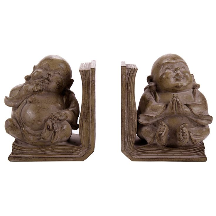 Resin Budha Bookends | Set of 2 | Brown, Natural | 14.5x15cm by A Decorator's Haven on POP.COM.AU