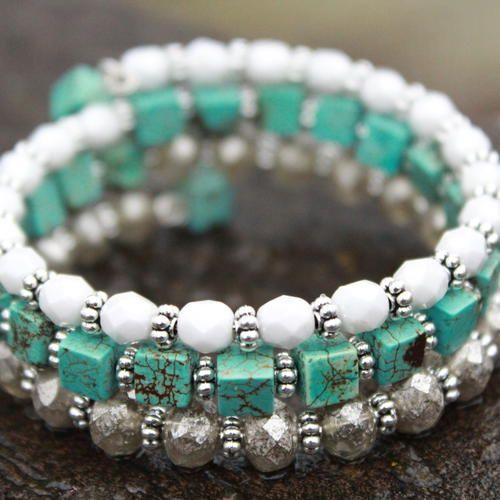 turquoise memory wire bracelet boho bracelet