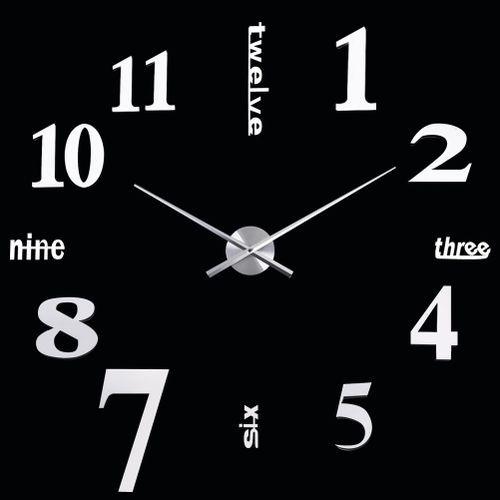 DIY Digital Large Wall Clock Big Watch Home Decor Unique Gift Tyrant silver digital 3D Mirror Sticker