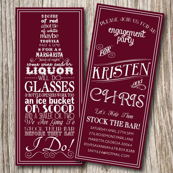 Stock The Bar Invitation, Bridal Shower, Groomsman, Couple Shower, Engagement, Party
