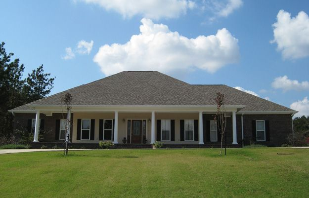 This one level southern style home has beautiful front and for House plans with porches on front and back
