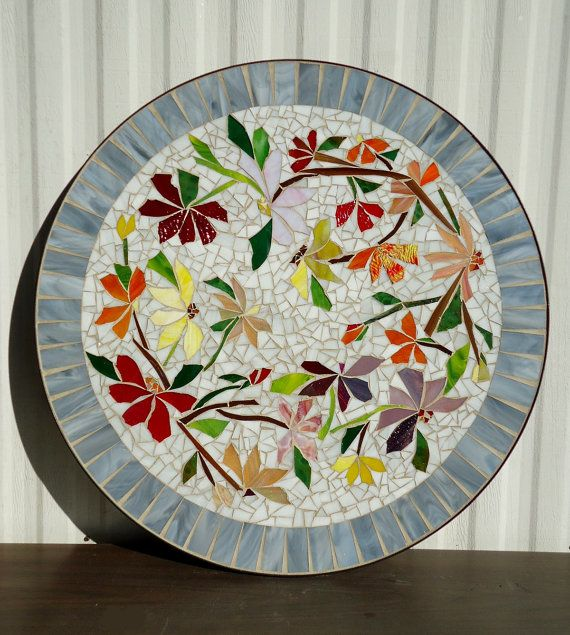 MOSAIC TABLE colorful dancing flowers stained glass mosaic art table top or wall piece WHITE