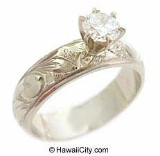 heirloom jewelry | Hawaiian Heirloom Jewelry 14k White Gold Engagement Wedding Rings