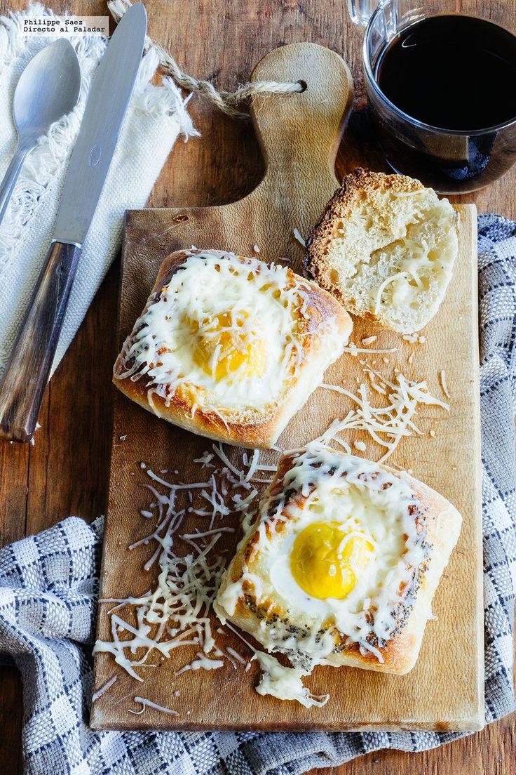 Directo al Paladar México - Huevo con jamón y queso cocido en pan. Receta para el desayuno