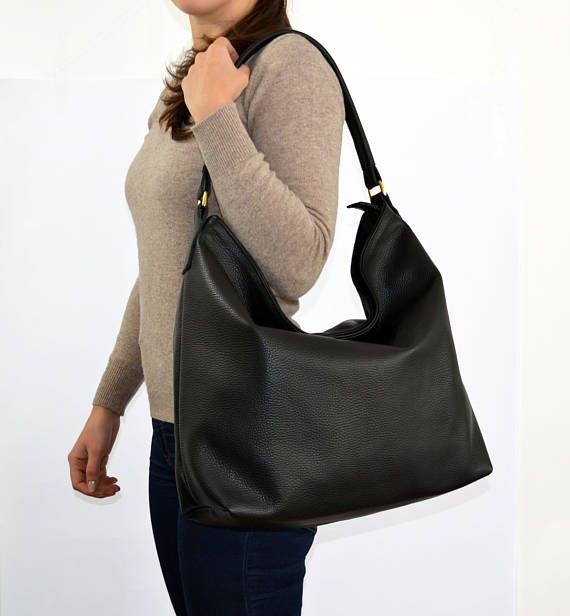 Black LEATHER HOBO Bag Leather bag Leather tote bag Women