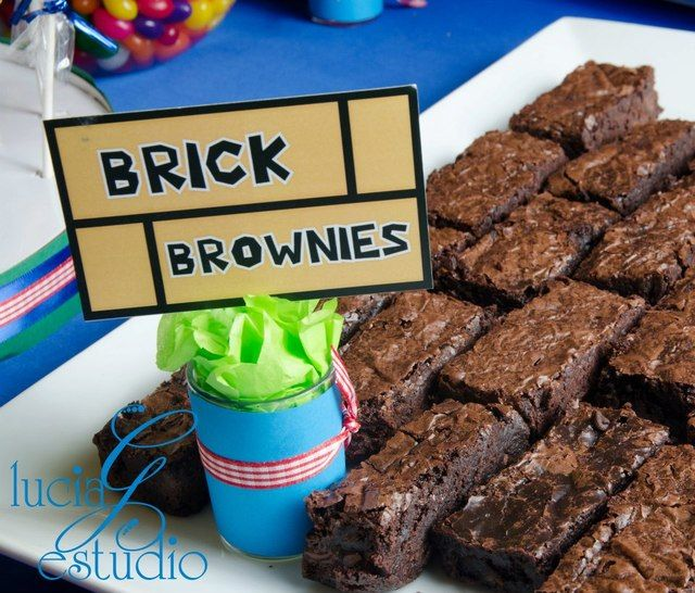 Brick Brownies at a Super Mario Bros Party #supermario #party