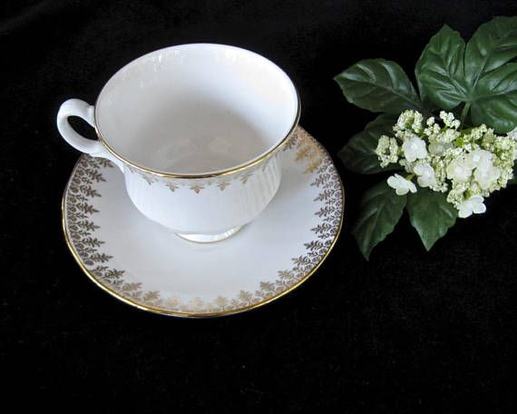 Vintage Queen Anne Bone China Teacup • White Gold Trim