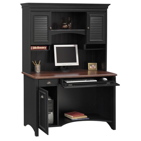 cottage style home office furniture. bush furniture stanford antique black with hansen cherry accent computer desk and hutch overstock deskshutchcottage stylegreat cottage style home office n